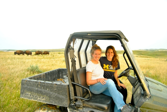 Kirsten (left) and Allie (right) on a bison ranch in South Dakota.