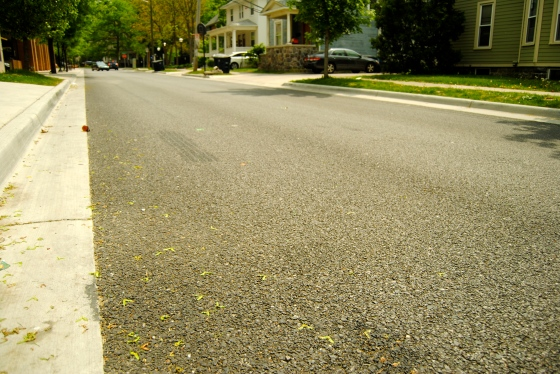 New porous pavement in Ann Arbor, MI near the University of Michigan