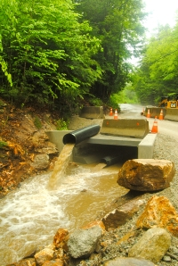 A box culvert is being inserted to enhance stormwater capacity