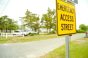 An emergency access street near a flood-prone area in Lewes.