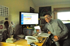 Andy James, the manager of Intervale, keeps the USGS stream gages up on his computer.