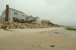 Homes next to Ellis Landing have implemented some 'hard' solutions to protect against erosion.