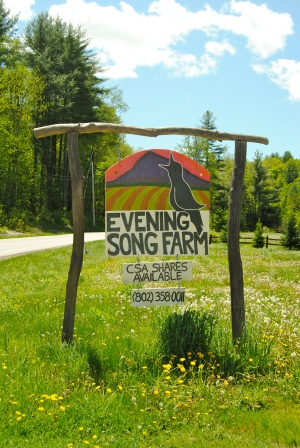 The old sign for Evening Song Farm. The new property is up in the hills, out of the floodplain.