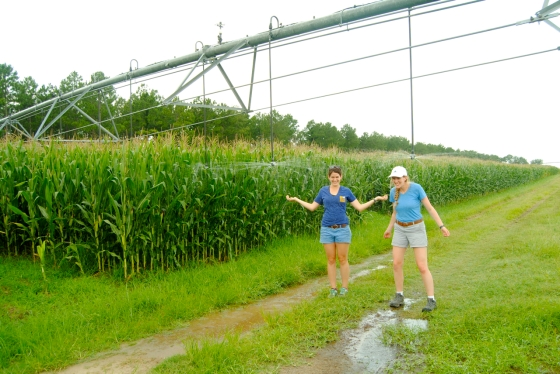 Kirsten and Allie get irrigated by drop nozzle system in Georgia