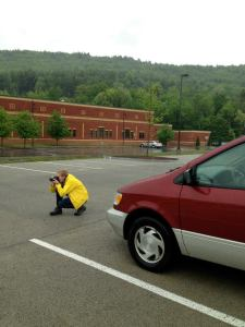 Kirsten snaps a photo of 'porous' pavement at work during a rainstorm in Keene, NH.