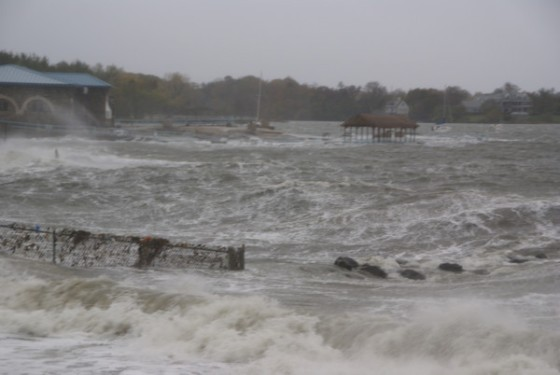 The storm surge in Hudson Park during Hurricane Sandy. Photo: New Rochelle Patch