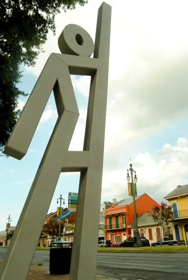 The 14-foot tall steel sculpture marks an EvacuSpot in New Orleans
