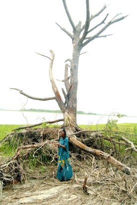 "Queen Quet stood in the root structure of a tree to show the severity of tidal erosion. ""We watch the ground move every day,"" she said."