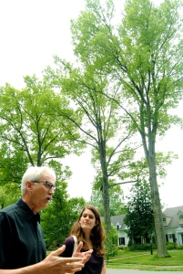 Mike tells Allie the stories behind the trees in Seneca Gardens in Louisville, KY