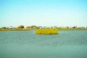 The bayside of Galveston Island flooded severely during Hurricane Ike.