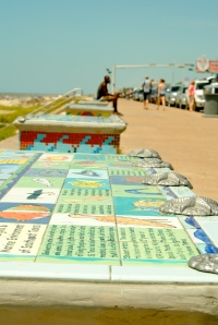 More mosaic art on public benches in Galveston.