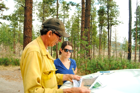 Allie learns about forest fire damage in Santa Fe, NM with specialist Bill Armstrong.