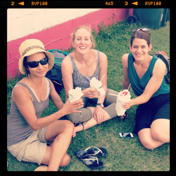 Julia Kumari Drapkin (left) tells road trippers Kirsten Howard and Allie Goldstein a thing or two about New Orleans snowballs (and storytelling).