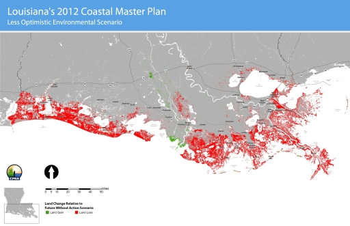 A 'less optimistic'--but plausible--land loss scenario from Louisiana's 2012 Coastal Master Plan.