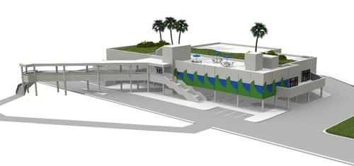 A rendering of the proposed restoration training center for the Gulf of Mexico foundation.