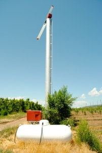 One of many wind machines helps avoid costly frost damage at Ela Family Farms in Colorado.
