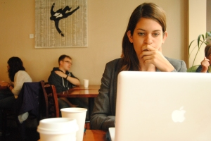Road tripper Allie Goldstein takes advantage of wifi in a San Francisco cafe.