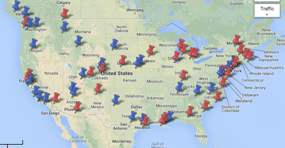 Red pins show places where we wrote 'adaptation stories.' Blue pins indicate other places we visited.