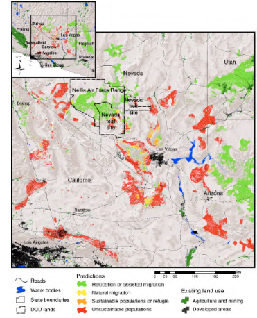 Cole et al. 2011 show the areas where Joshua trees will likely die out (red), the areas where they could naturally migrate (yellow), and the areas that could be considered for assisted relocation (green)