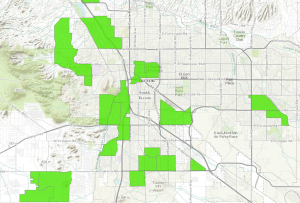 This map shows 'food deserts' in Tucson--census blocks that are low-income and have low access to food (defined in urban areas as being at least one mile away from a major grocery store). Lots of other factors determine true food security, but this map gives an idea of food insecure areas in Tucson. | Map source: USDA's Economic Research Service