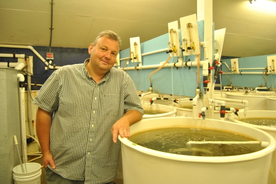Benoit Eudeline of Taylor Shellfish stands next to a vat of his prized oyster larvae.
