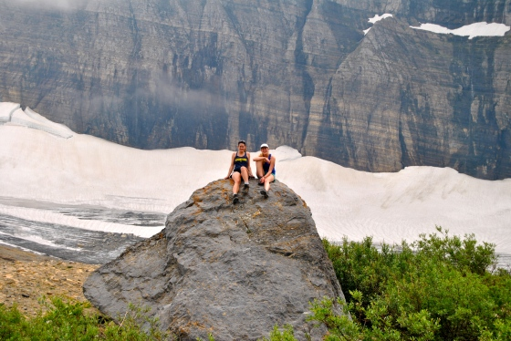 The road trippers explore Grinnell Glacier in Glacier National Park, Montana before it melts