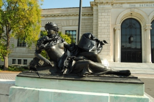 A statue outside the Detroit Institute of Art