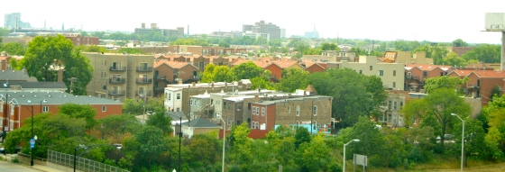 The neighborhoods around Crane Technical High School feature some light-colored roofs