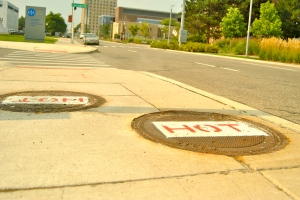 Steam leaks from these manholes on Detroit's streets
