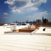 The view from the white rooftop of Crane Technical High School