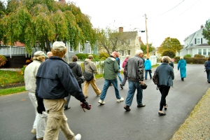 The Portsmouth Flood Risk Walking Tour marches along the streets of historic Portsmouth, NH