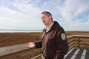 Matt Whitbeck, a wildlife biologist at Blackwater, describes a major ecological transition driven by sea level rise. | Photo: (c) Whitney Flanagan, The Conservation Fund
