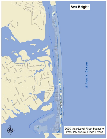 in 2050, a 1% chance annual flood event would inundate the entire borough of Sea Bright, thanks to sea-level rise (Source: Strategic Recovery Planning Report by New Jersey Future)